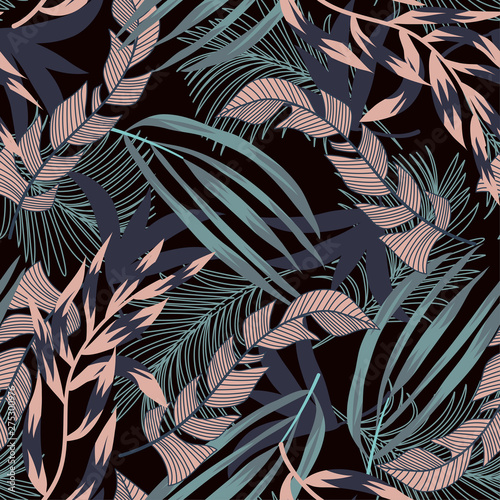 Printed kitchen splashbacks Watercolor Nature Trend seamless pattern with bright tropical leaves and plants on a black background. Vector design. Jungle print. Floral background. Printing and textiles. Exotic tropics. Summer design.