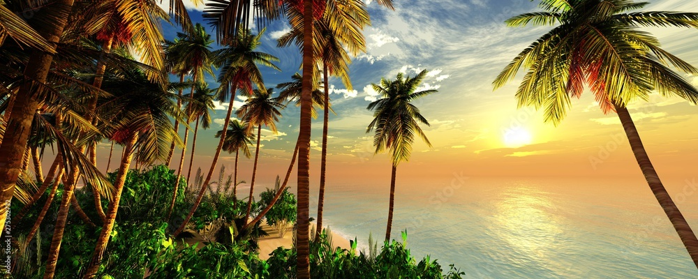 Fototapeta Beach with palm trees at sunset, tropical coast with palm trees under the setting sun