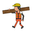 Construction worker smiling cartoon isolated faceless