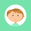Boy portrait view, smiling teenager in flat style isolated on green, emotion of kid, child in casual clothes, sticker of little person in round icon vector