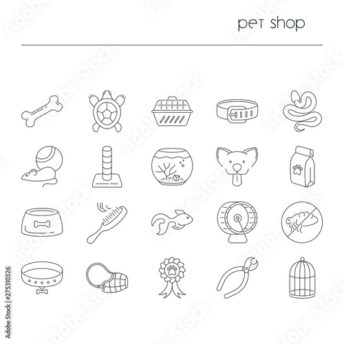 Foto op Canvas Restaurant Pet shop icons isolated. Collection of thin line symbols of pets and equipment
