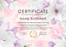 Certificate Vector Template With Flowers. Floral Background With Magnolia And Orchid Flowers For Diploma, Wedding Invitation, Romantic Summer Design
