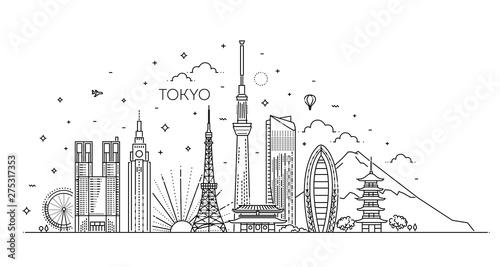 Fényképezés Tokyo vacation icons set. Vector icons