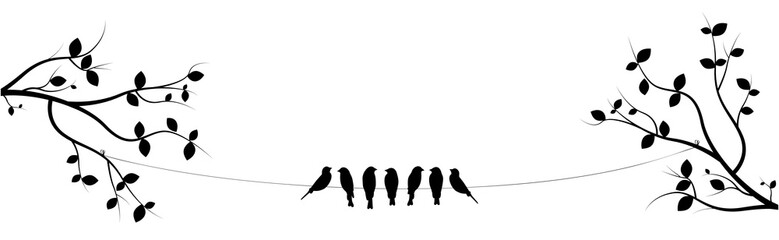 FototapetaBirds On Wire on two branches Vector, Poster design, Wall Decor, Birds Silhouettes. Seven Birds on Wire Illustration Design, Art Decor, Wall Decals isolated on white background