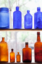 Antique Bottles In Window