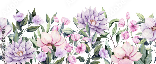 Fotografie, Obraz  Seamless Border of Watercolor Dahlia Flowers and Leaves