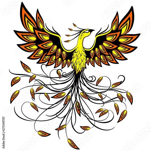 Foto op Aluminium Draw Phoenix Mythical Creature Logo Tattoo Style Vector Illustration isolated on White