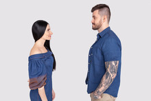 Lets Talk. Profile Side Photo Of Cute Positive Beautiful Students Fellows Staring Speaking Telling Greeting Having Dialogue Dressed In Denim Clothing Isolated On Grey Background