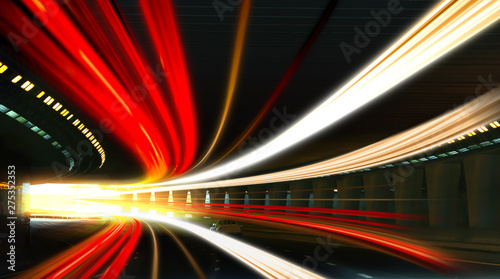 Poster Dogs Modern cars driving through illuminated highway tunnel