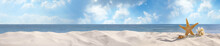 Set Of Different Stylish Beach Accessories On Sand. Space For Text