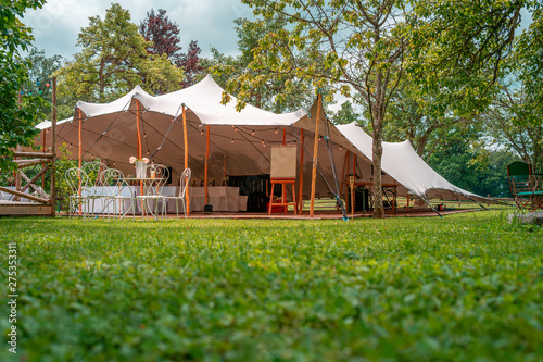 Fototapeta Image of huge tent for a wedding event in the nature obraz
