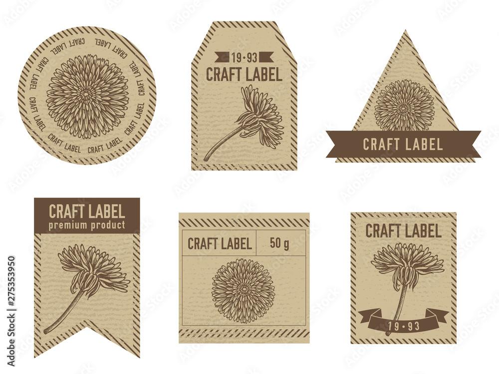 Fototapety, obrazy: Craft labels with dandelion stock illustration