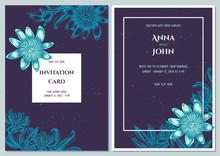 Wedding Invitation Card With Blue Passion Flower