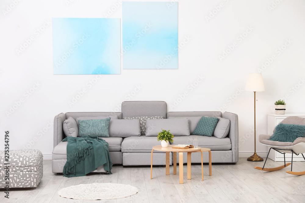 Fototapety, obrazy: Modern living room interior with comfortable sofa