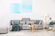 canvas print picture - Modern living room interior with comfortable sofa