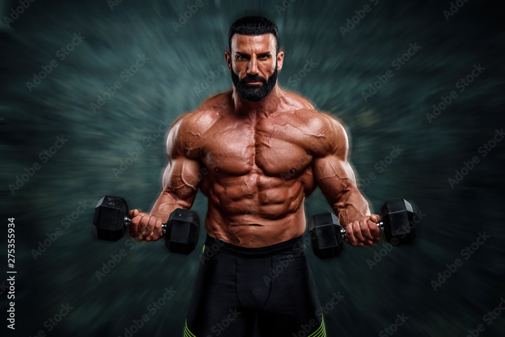 Fototapety, obrazy: Handsome, Strong , Muscular Body Builder Lifting Weights