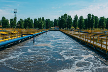 Modern Wastewater Treatment Plant. Tanks For Aeration And Biological Purification Of Sewage