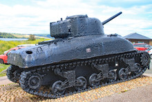 The Sherman Tank At Slapton Sands In Devon. It Was Sunk In Action During Exercise Tiger Which Was A Rehearsal For The D-Day Landings. It Now Stands As A Memorial To Those Who Lost Their Lives