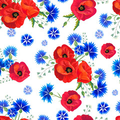 Panel Szklany Maki Abstract Floral seamless pattern with red poppies and blue cornflowers.