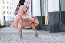 Pleated Skirt Coral Color And ...
