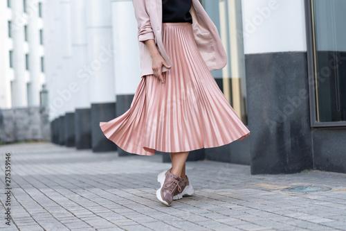Fényképezés Peach colored A Line Pleated Skirt