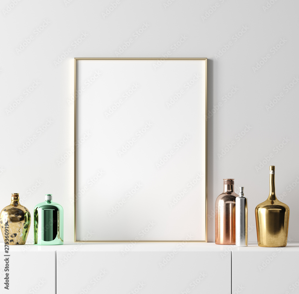 Fototapety, obrazy: Poster frame mockup with stylish old vintage bottles on table on empty white wall background, 3D rendering