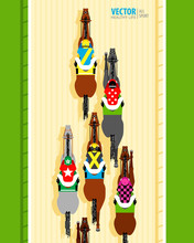 Six Racing Horses Competing With Each Other. Banner. Universal Template For A Website. Horse Racing. Hippodrome. Racetrack. Top View. Vector Illustration