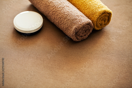 Foto op Plexiglas Spa Chocolate Spa . Composition brown towel in hotel room of spa treatment
