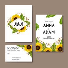 Sunflowers Wedding Invitation Card Template Design-01