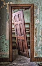 Unhinged:  Beautiful Wood Door In An Abandoned Building