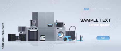set different home appliances kit electric house equipment collection flat horiz Canvas Print
