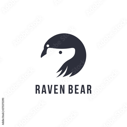 ae394d65d Raven and bear, with negative space style logo icon - Buy this stock ...