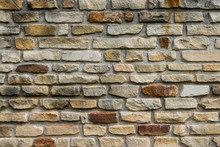 Pattern Of Tan And Brown Stone Bricks In Wall