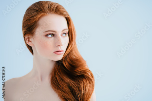 loose red hair Canvas Print