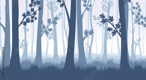 obraz lub plakat Forest trees seamless pattern