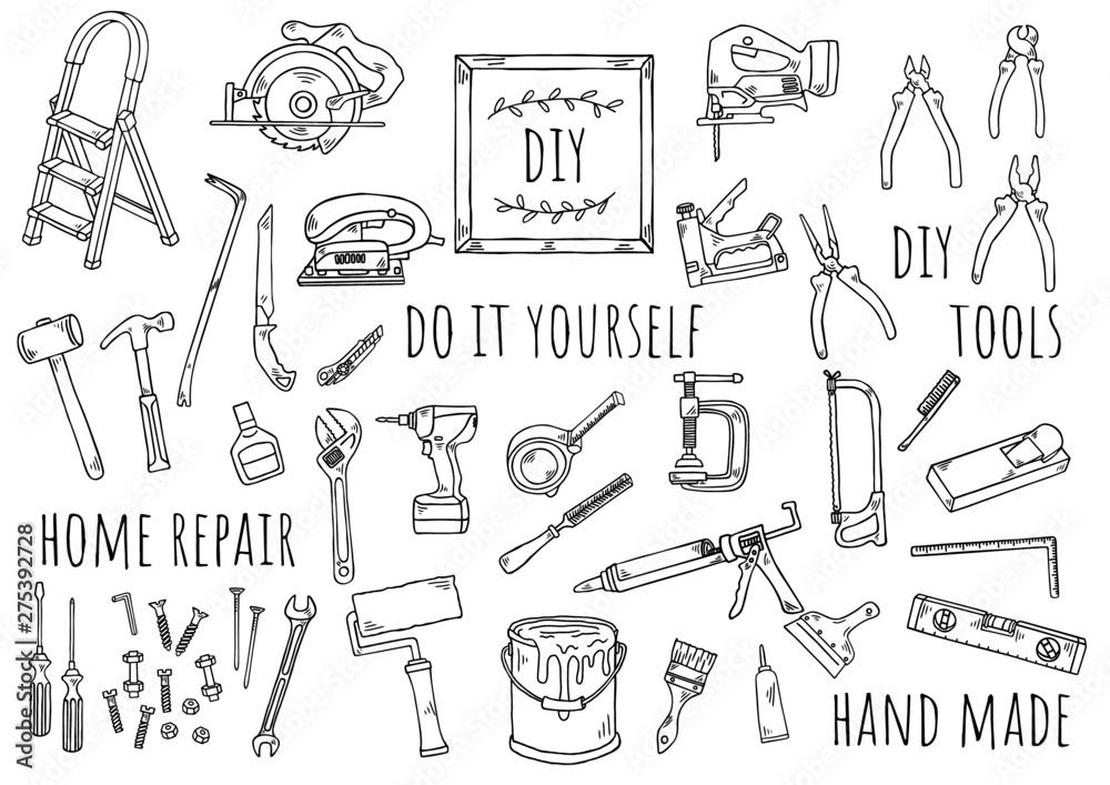 Fototapety, obrazy: 手描きイラスト:DIY