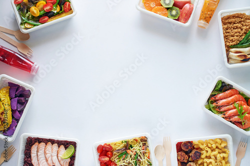 Prepared meal delivery concept with copy space Canvas Print