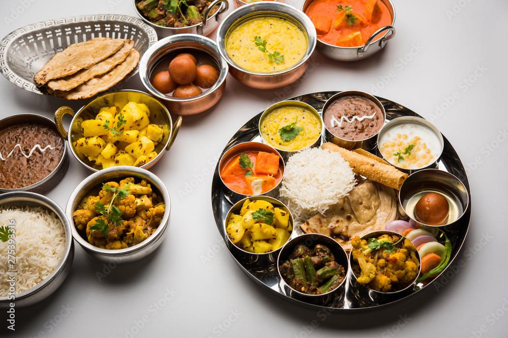 Fototapety, obrazy: Indian Hindu Veg Thali / food platter, selective focus