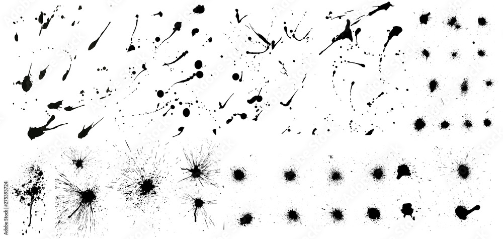 Fototapeta Nice сollection of ink splashes blots splatter. Set grunge design element and art messy backdrop. High quality manually traced. Color dirty liquid. Black ink blow explosion. Vector grunge set