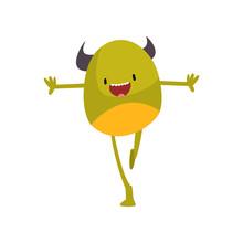 Cute Freaky Horned Monster, Funny Happy Green Alien Cartoon Character Vector Illustration