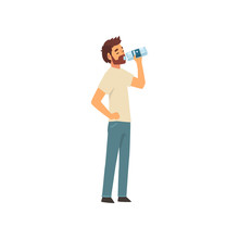 Bearded Young Man Drinking Water From Plastic Bottle, Guy In Casual Clothes Enjoying Drinking Of Fresh Clean Water Vector Illustration