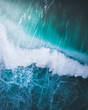 canvas print picture - abstract wave crashing from above