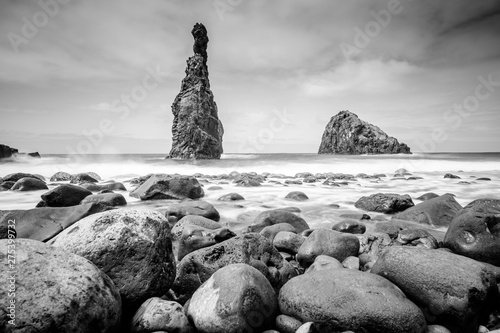 Photo  Lava islets in Ribeira da Janela at stony beach - Wild and beautiful coast with