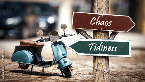 Fotografie, Obraz  Street Sign to Tidiness versus Chaos