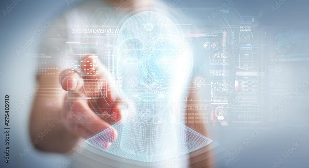Fototapety, obrazy: Businessman using digital artificial intelligence head interface 3D rendering
