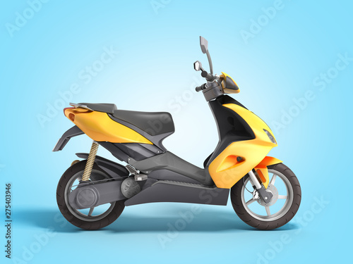 Yellow moped scooter Transport wheel 3d render on blue gradient
