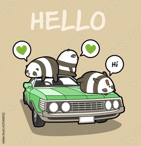 Kawaii pandas on the car