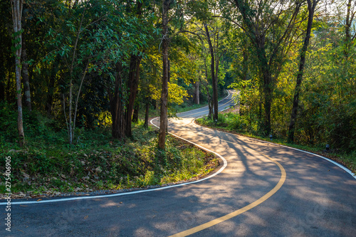 Stickers pour portes Route dans la forêt Road in the Forest, Thung Salaeng Luang National Park, Thailand