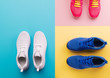 canvas print picture - A studio shot of running shoes on bright color background. Flat lay.