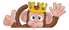 A Monkey King Cartoon Character Animal Wearing A Crown Peeking Over A Sign And Waving Giving A Thumbs Up